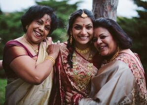 Joyous Bride with Supportive and Loving Family Members
