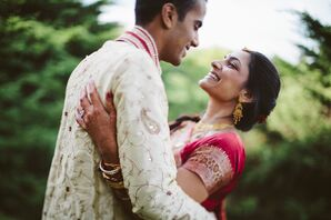 Smiles Shared Between the Bride and Groom in Romantic Embrace