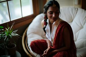 Bride Relaxes Before her Wedding Ceremony