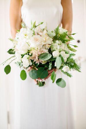 Lush, Tropical White Bridal Bouquet