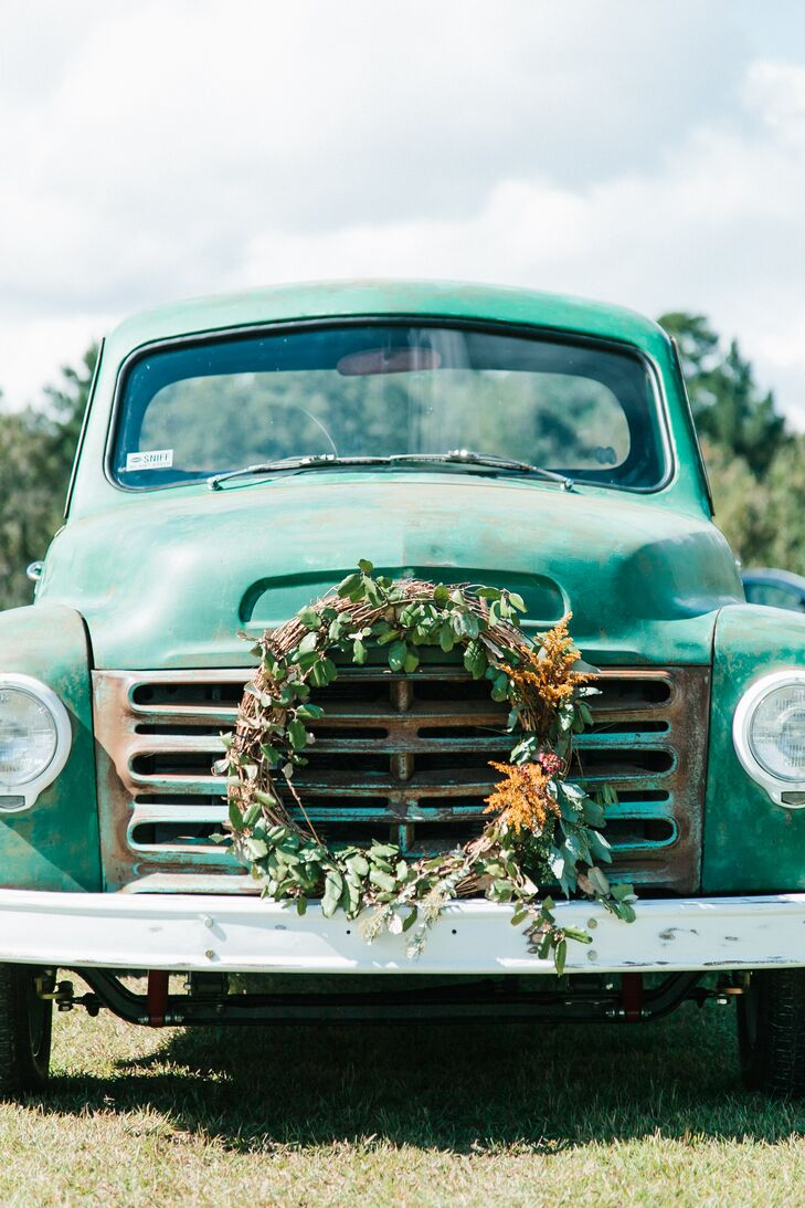 Vintage Teal Truck with Floral Wreath