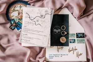 Vintage-Inspired Wedding Invitations with Map and Calligraphy