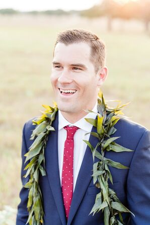Classic Groom with Red Tie and Hawaiian Lei
