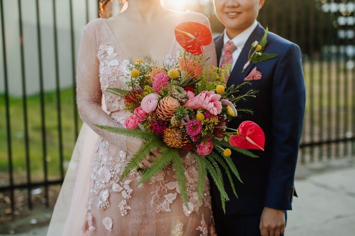 Tropical Pink and Red Bouquet