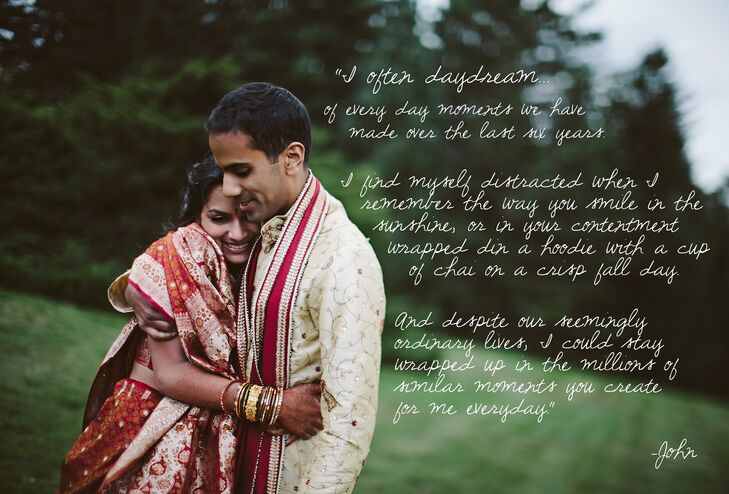 The groom wrote a heartfelt letter expressing his love to his bride telling her of how she looks in the sunshine.
