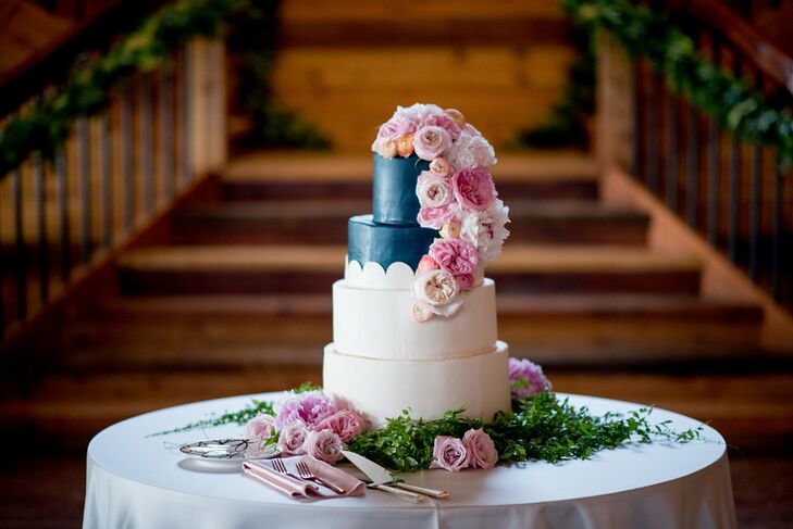 Color Block Fondant Cake with Cascading Pink Roses