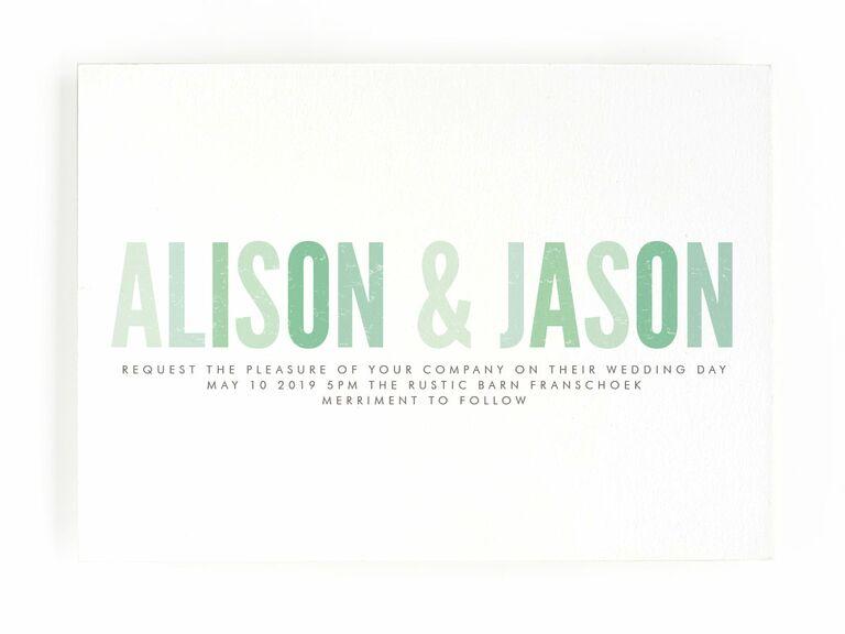 Minted cute green spring wedding invitation