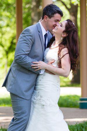 Strapless Flower-Embellished Wedding Dress