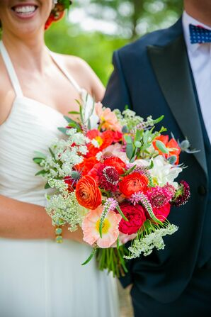 Textured Red and White Bridal Wedding Bouquet