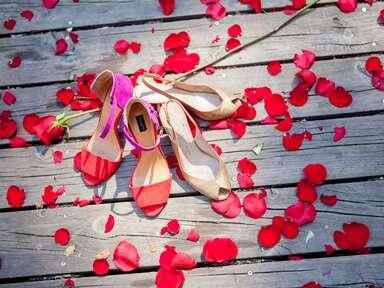 Wedding day heels and rose petals