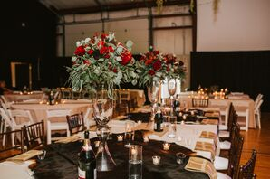 Tall Eucalyptus and Rose Arrangements and Cowhide Table Cloths