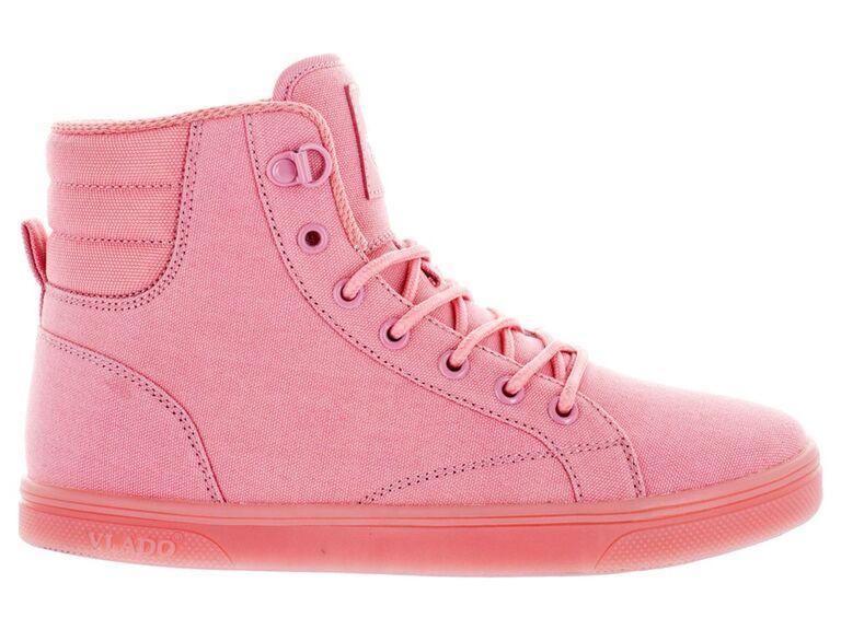 Pink high top wedding sneakers