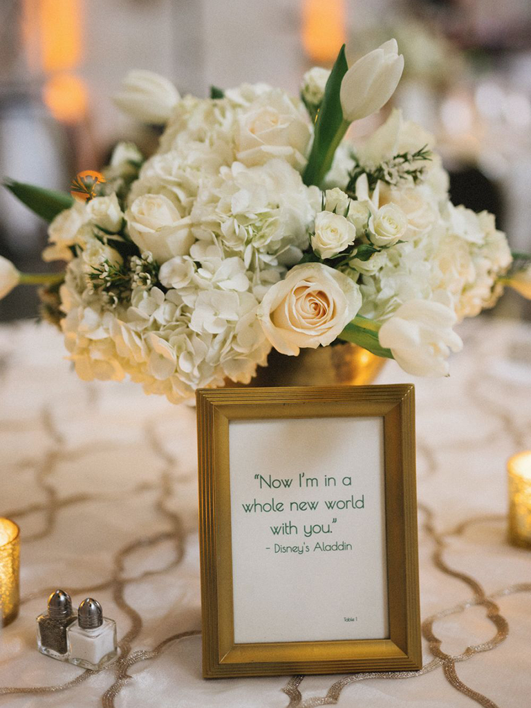 centerpieces with framed quotes