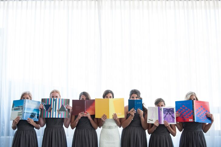 Bridesmaids Posing with Books