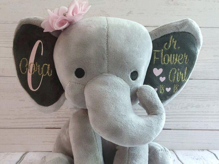 Custom flower girl gift elephant stuffed animal
