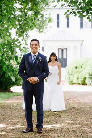 Groom in a Navy Suit at Mount Ida Farm First Look