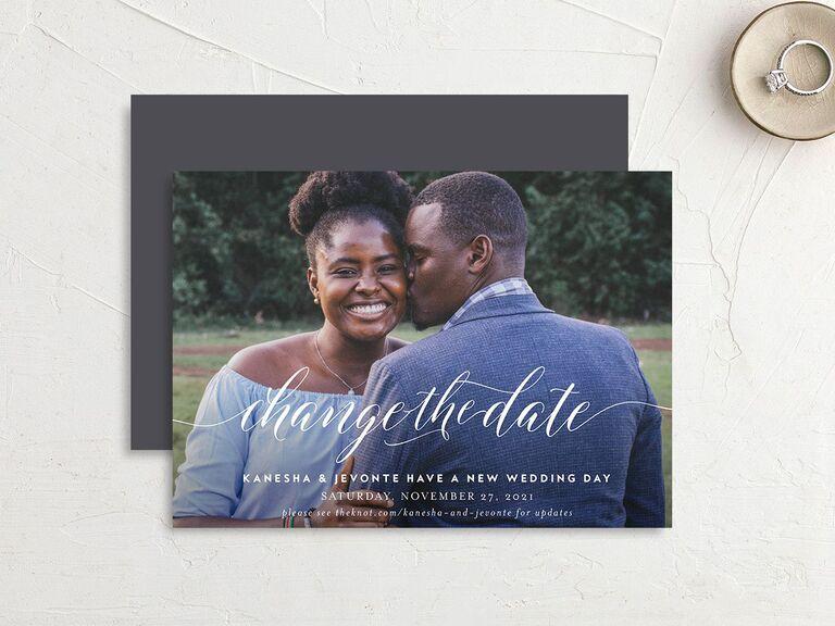 Wedding postponement card we do