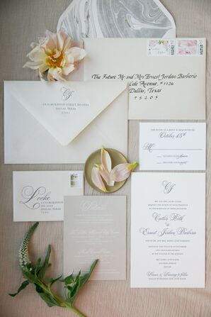 Custom Stationery Suite with Pale Blue Calligraphy