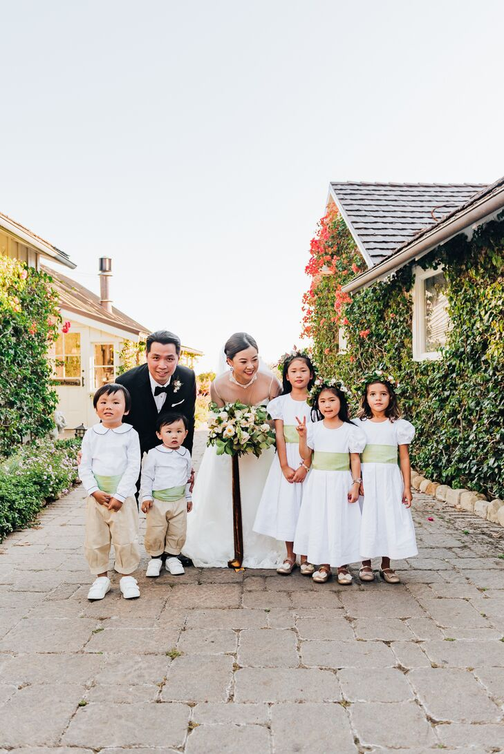 Flower Girl and Ring Bearer Attire with Green Waist Detail
