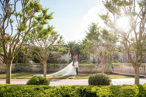 Wedding Portaits Among Palm Trees at Portofino Bay Hotel in Orlando, Florida
