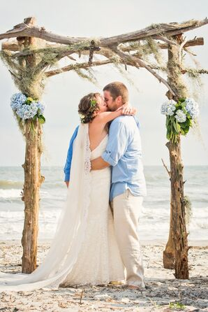 Rustic Driftwood Beachfront Wedding Arbor