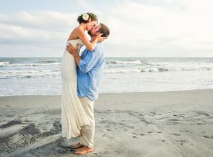 Avery Eslocker (27 and a teacher) and Casey Euart (29 and owner of Coastal Green Landscapes) had a stunning, rustic Low Country beach wedding. Wanting