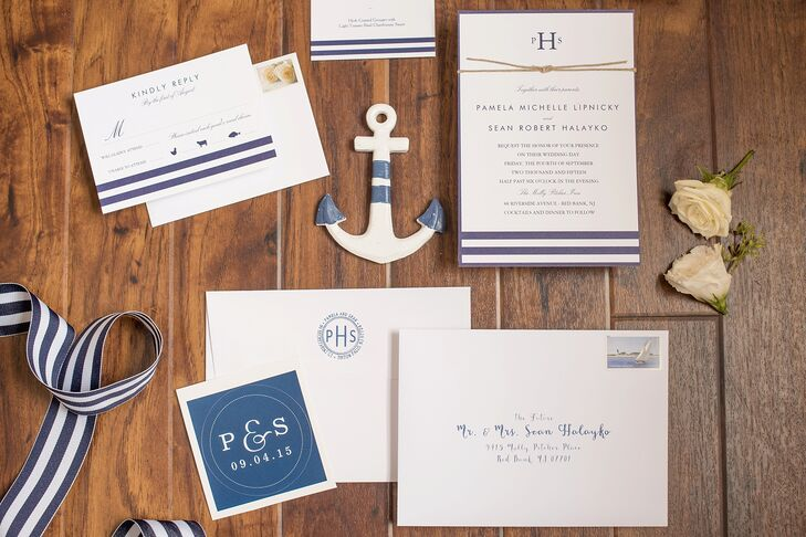 """Pam did a ton of research to ensure their invitation set the day's tone and found this suite on Zazzle.com. Origami Prints designed each one with just navy and white accents and a striped border. """"We added our own touch to the invitations by tying a knot around them with hemp rope and mailing them with a nautical-themed Edward Hopper 'The Long Leg' postage stamp painting of sailboat,"""" Pam says. Their monogram and calligraphy addresses also fit the color scheme with a matching navy font or backdrop."""