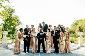 Glamorous Bridesmaids in Gold Sequined Gowns