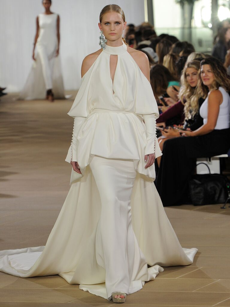Ines Di Santo Fall 2019 draped wedding dress with shoulder cutouts and a keyhole neckline