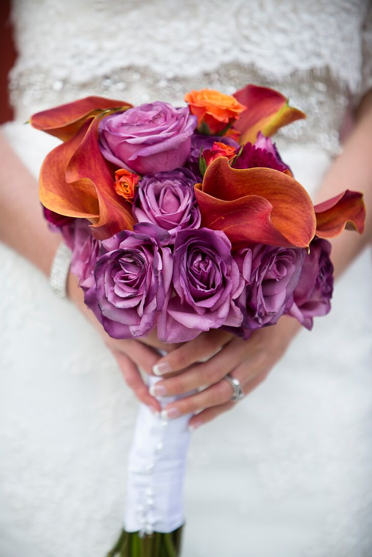 Purple Rose and Calla Lily Bridal Bouquet