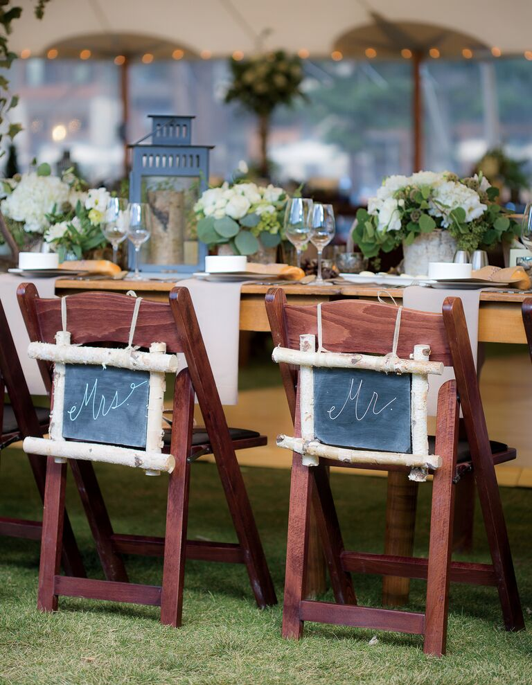 Tent reception rustic chair sign