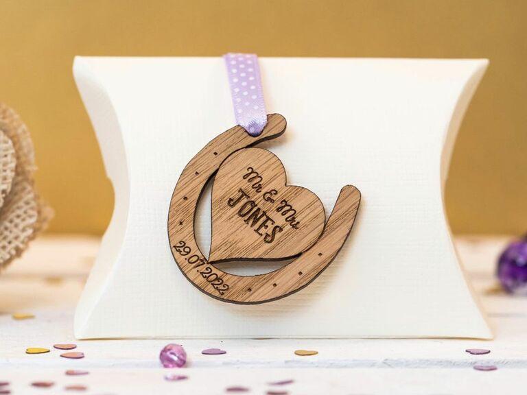 custom wooden horseshoe wedding favor
