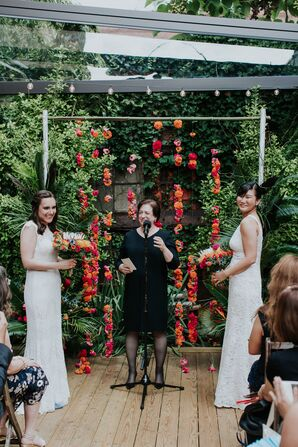 Same-Sex Ceremony with Colorful Wedding Arch