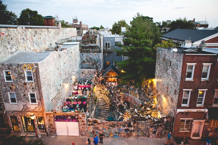 Jeannine and Robin decided to have their wedding ceremony and reception at Pennsylvania's Magic Gardens in a mosaic sculpture garden created by artist Isaiah Zagar.