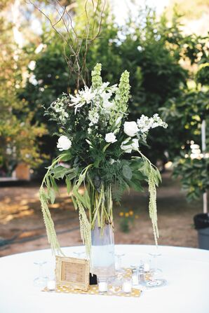 Lush Green and Ivory Flower Centerpiece