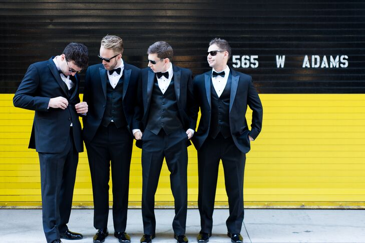 Groomsmen in Dark Navy Tuxedos and Sunglasses in Chicago