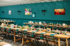 Teal-Colored Wedding Decor at The Fig House in Los Angeles