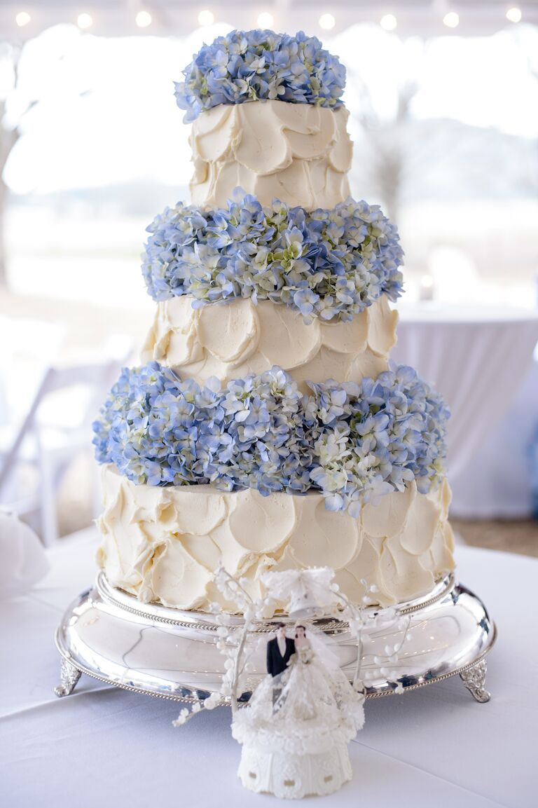 Three Tiered Ercream Cake With Blue Hydrangea Layers