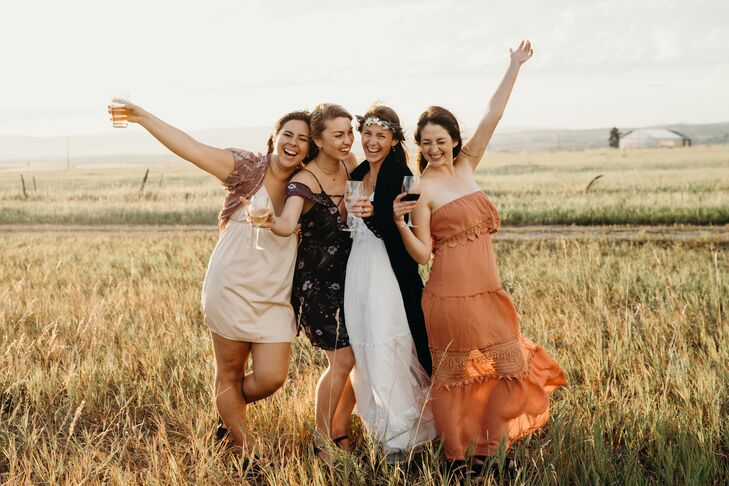 Casual Wedding Guests at Rathvinden Farm in Belgrade, Montana