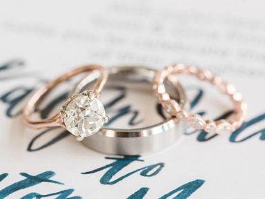 rose gold engagement ring and wedding ring
