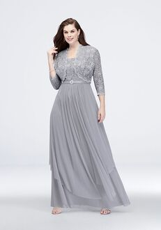 David's Bridal Mother of the Bride R&M Richards Style 7300W Silver Mother Of The Bride Dress