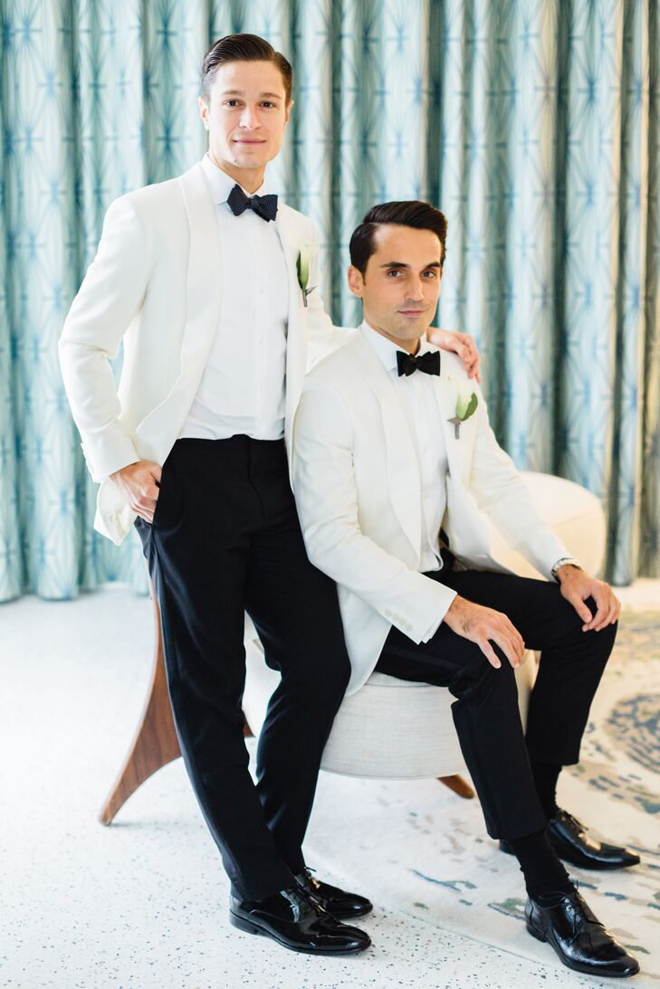 """We both wore J.Crew's cream Ludlow Dinner Jacket in Italian wool with white shirts and black J.Crew tuxedo pants,"" Wes says. Wes wore a solid black bow tie, and Jay wore a navy one with white polka dots. ""We chose our own cuff links for a personal touch."""