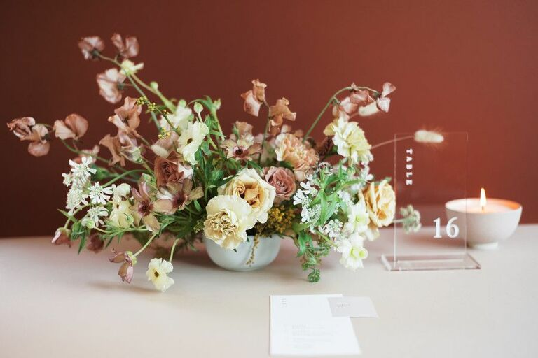 Floral arrangement with sweet pea blooms