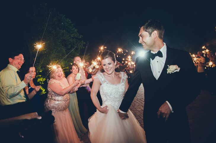 Sparkler Recessional from Formal Backyard Reception