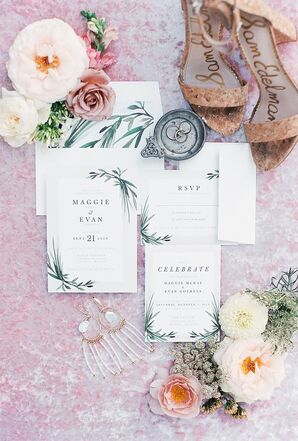Rustic Wedding Invitation with Typography and Greenery Design