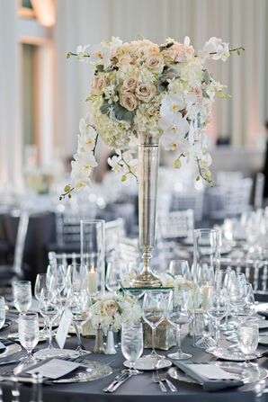 Tall Centerpiece with White Orchids, Roses and Hydrangeas