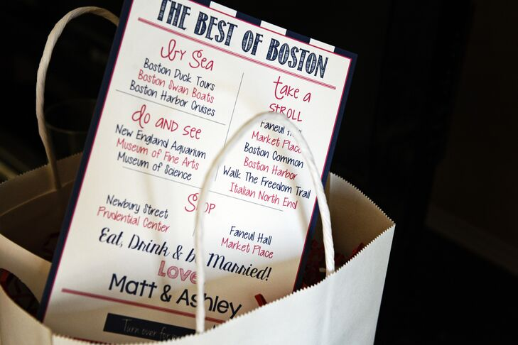 As out-of-town guests arrived to their hotels, they were greeted by welcome kits filled with Boston-inspired treats. Each welcome bag included a custom-designed card with some of the couple's favorite spots around the city and must-see Beantown landmarks, plus plenty of treats to enjoy throughout the weekend.