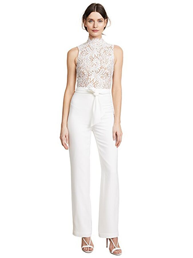 White jumpsuit with high-neck lace bodice