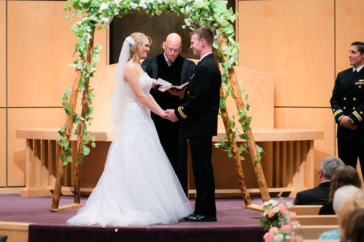 """""""The element that reflected us the most as a couple was the wedding service,"""" says the couple. """"We wanted the pastor to proclaim our faith in God, and our trust that ultimately He would secure our marriage. We wanted our guests to feel like they were involved in the sacred task of encouraging us."""""""