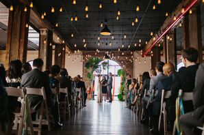 Liberty Warehouse Ceremony with String Light Canopy